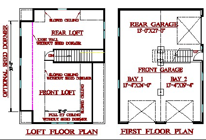 Layout Plans for 3-Bay w/ Loft